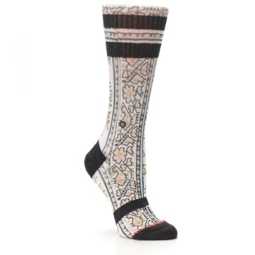 Image of Pink Cream Patterned Women's Casual Sock (side-1-27)