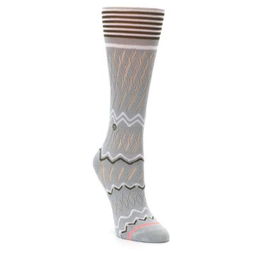 Image of Gray White Brown Zig-Zag Women's Casual Sock (side-1-front-02)
