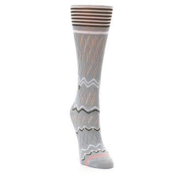 Image of Gray White Brown Zig-Zag Women's Casual Sock (side-1-front-03)