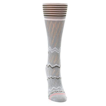 Image of Gray White Brown Zig-Zag Women's Casual Sock (front-04)