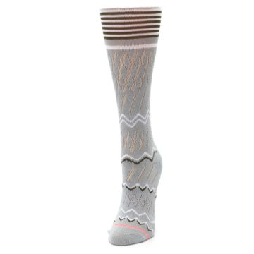 Image of Gray White Brown Zig-Zag Women's Casual Sock (side-2-front-07)