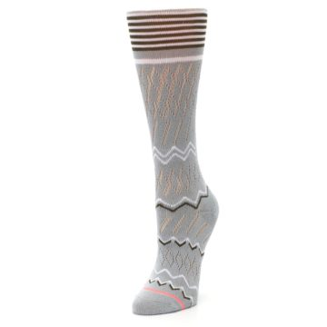 Image of Gray White Brown Zig-Zag Women's Casual Sock (side-2-front-08)