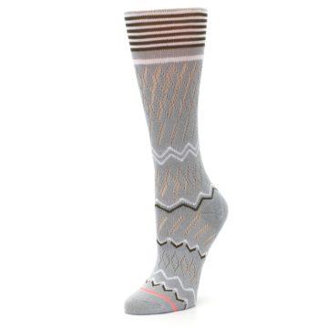 Image of Gray White Brown Zig-Zag Women's Casual Sock (side-2-09)