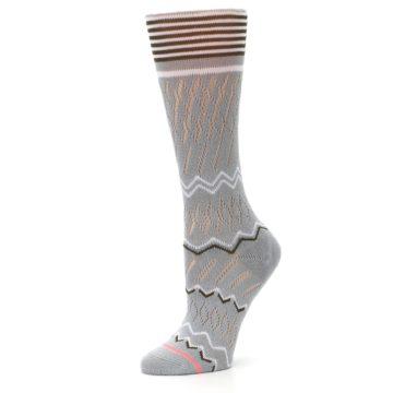 Image of Gray White Brown Zig-Zag Women's Casual Sock (side-2-10)