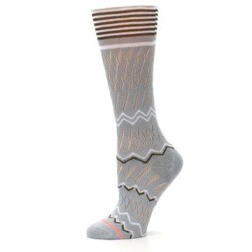 Image of Gray White Brown Zig-Zag Women's Casual Sock (side-2-11)