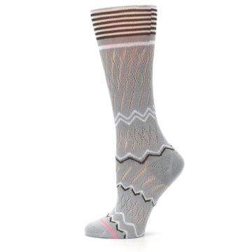 Image of Gray White Brown Zig-Zag Women's Casual Sock (side-2-12)