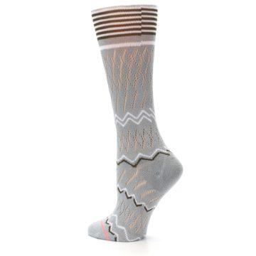 Image of Gray White Brown Zig-Zag Women's Casual Sock (side-2-back-14)