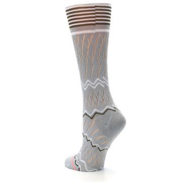 Image of Gray White Brown Zig-Zag Women's Casual Sock (side-2-back-15)