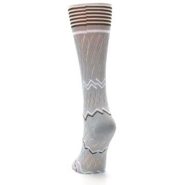 Image of Gray White Brown Zig-Zag Women's Casual Sock (back-17)