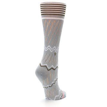 Image of Gray White Brown Zig-Zag Women's Casual Sock (side-1-back-22)