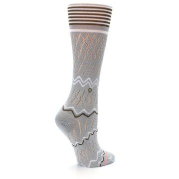 Image of Gray White Brown Zig-Zag Women's Casual Sock (side-1-23)