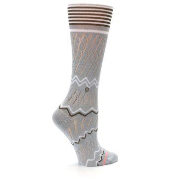 Image of Gray White Brown Zig-Zag Women's Casual Sock (side-1-24)