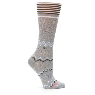 Image of Gray White Brown Zig-Zag Women's Casual Sock (side-1-25)