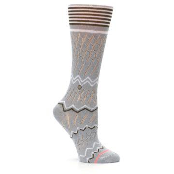 Image of Gray White Brown Zig-Zag Women's Casual Sock (side-1-26)