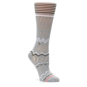 Image of Gray White Brown Zig-Zag Women's Casual Sock (side-1-27)