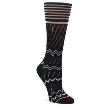 Black-Cream-Zig-Zag-Womens-Casual-Sock-STANCE