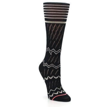 Image of Black Cream Zig-Zag Women's Casual Sock (side-1-front-02)