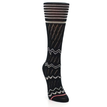 Image of Black Cream Zig-Zag Women's Casual Sock (side-1-front-03)
