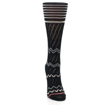 Image of Black Cream Zig-Zag Women's Casual Sock (front-04)