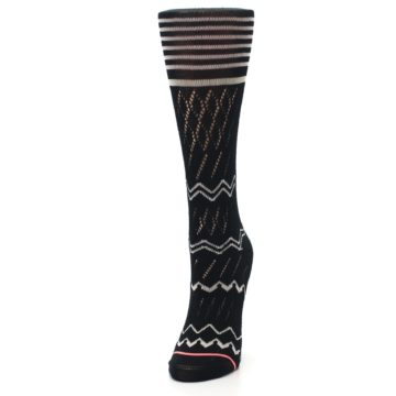 Image of Black Cream Zig-Zag Women's Casual Sock (side-2-front-07)