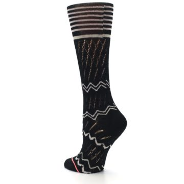 Image of Black Cream Zig-Zag Women's Casual Sock (side-2-back-15)
