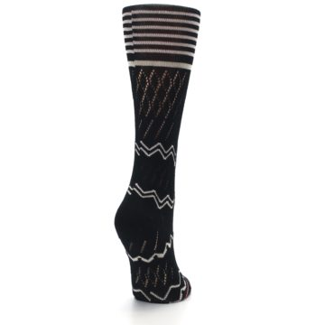 Image of Black Cream Zig-Zag Women's Casual Sock (side-1-back-21)