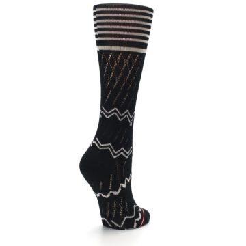 Image of Black Cream Zig-Zag Women's Casual Sock (side-1-back-22)