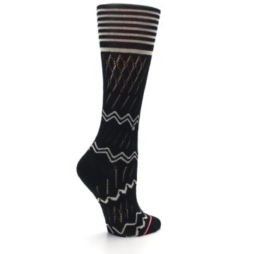 Image of Black Cream Zig-Zag Women's Casual Sock (side-1-23)