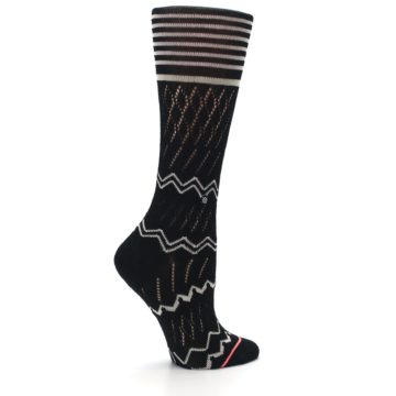 Image of Black Cream Zig-Zag Women's Casual Sock (side-1-24)