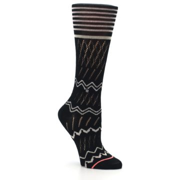 Image of Black Cream Zig-Zag Women's Casual Sock (side-1-27)