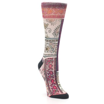 Image of Pink Multi Jasmine Pattern Women's Casual Sock (side-1-front-02)
