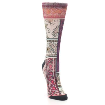 Image of Pink Multi Jasmine Pattern Women's Casual Sock (side-1-front-03)