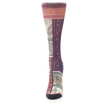 Image of Pink Multi Jasmine Pattern Women's Casual Sock (side-2-front-06)