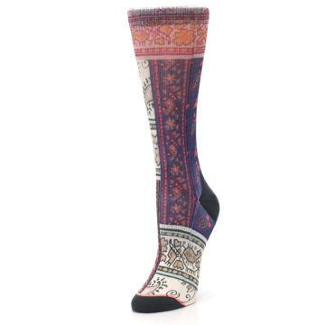 Image of Pink Multi Jasmine Pattern Women's Casual Sock (side-2-front-08)