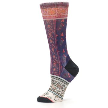 Image of Pink Multi Jasmine Pattern Women's Casual Sock (side-2-11)