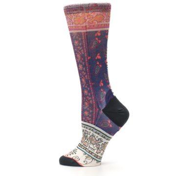 Image of Pink Multi Jasmine Pattern Women's Casual Sock (side-2-12)