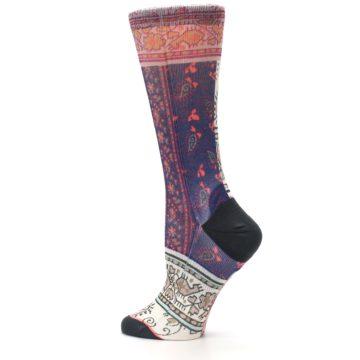 Image of Pink Multi Jasmine Pattern Women's Casual Sock (side-2-13)