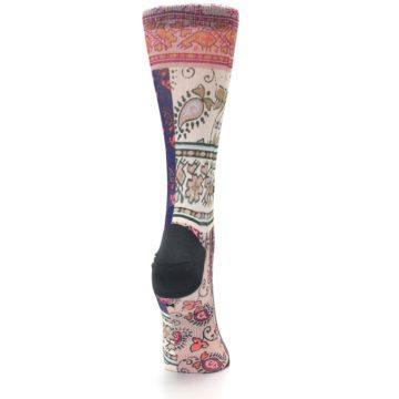 Image of Pink Multi Jasmine Pattern Women's Casual Sock (side-1-back-20)