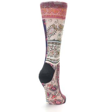 Image of Pink Multi Jasmine Pattern Women's Casual Sock (side-1-back-21)