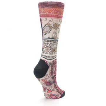 Image of Pink Multi Jasmine Pattern Women's Casual Sock (side-1-back-22)
