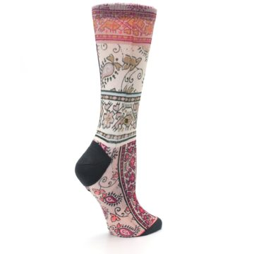 Image of Pink Multi Jasmine Pattern Women's Casual Sock (side-1-23)