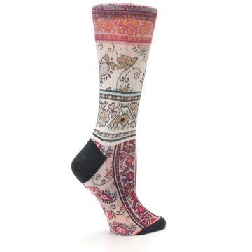 Image of Pink Multi Jasmine Pattern Women's Casual Sock (side-1-24)