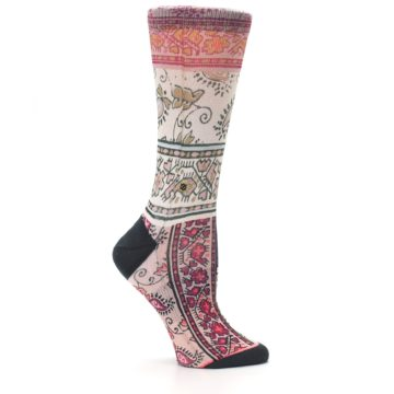 Image of Pink Multi Jasmine Pattern Women's Casual Sock (side-1-25)