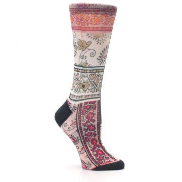Image of Pink Multi Jasmine Pattern Women's Casual Sock (side-1-26)