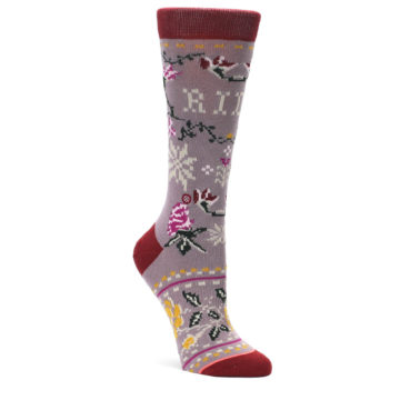 Image of Lilac Floral Slay Ride Women's Casual Socks (side-1-front-01)