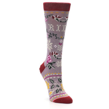 Image of Lilac Floral Slay Ride Women's Casual Socks (side-1-front-02)