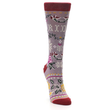 Image of Lilac Floral Slay Ride Women's Casual Socks (side-1-front-03)