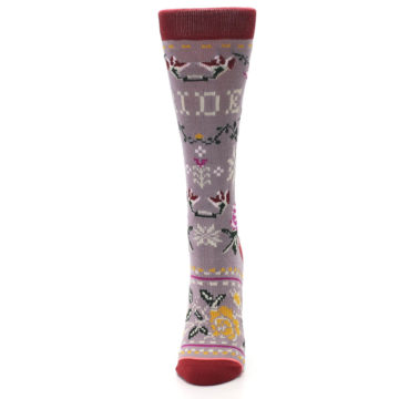 Image of Lilac Floral Slay Ride Women's Casual Socks (side-2-front-06)