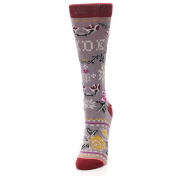 Image of Lilac Floral Slay Ride Women's Casual Socks (side-2-front-07)