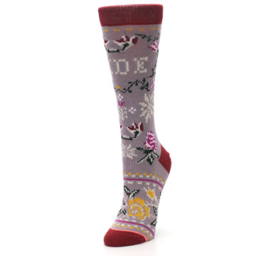 Image of Lilac Floral Slay Ride Women's Casual Socks (side-2-front-08)